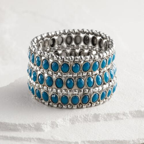 Silver and Blue Three Row Stretch Bracelet