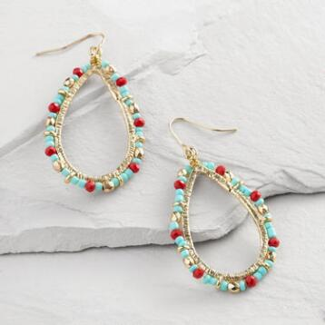 Gold, Turquoise and Red Bead Hoop Earrings