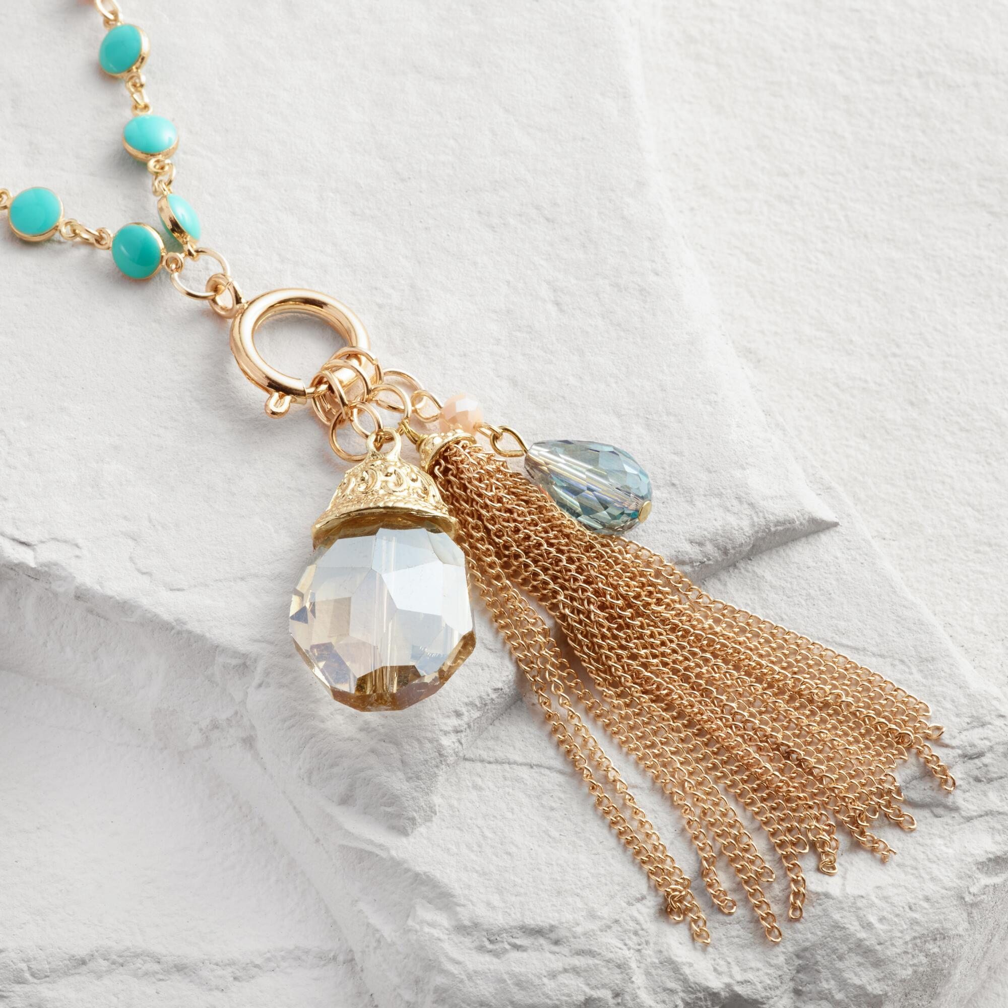 Gold Tassel Charms Necklace | World Market
