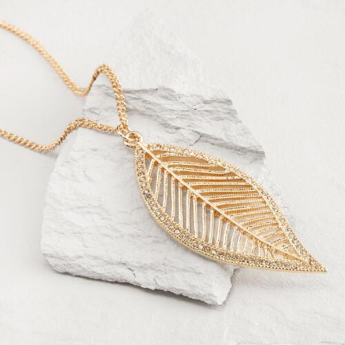 Gold Rhinestone Leaf Pendant Necklace