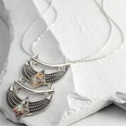 Silver and Abalone Double Pendant Necklace
