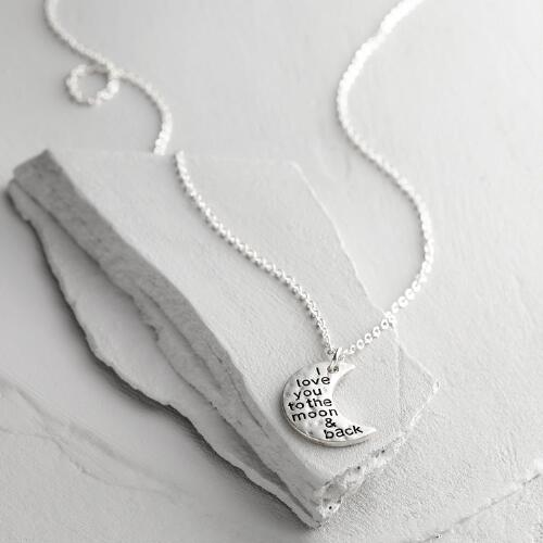 Silver Love You to the Moon and Back Pendant Necklace