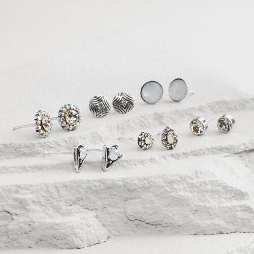 Silver and White Opal Stud Earrings Set of 6