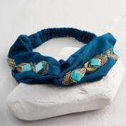 Ivory and Turquoise Beads Turban Headband