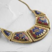 Red and Blue Mosaic Statement Necklace