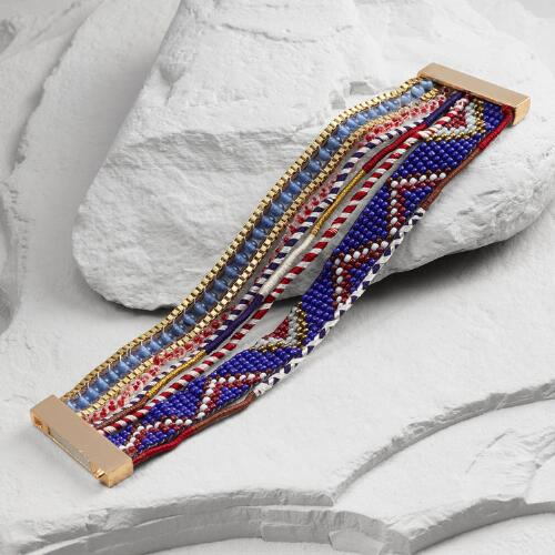 Gold, Red and Blue Multi Strand Clasp Bracelet