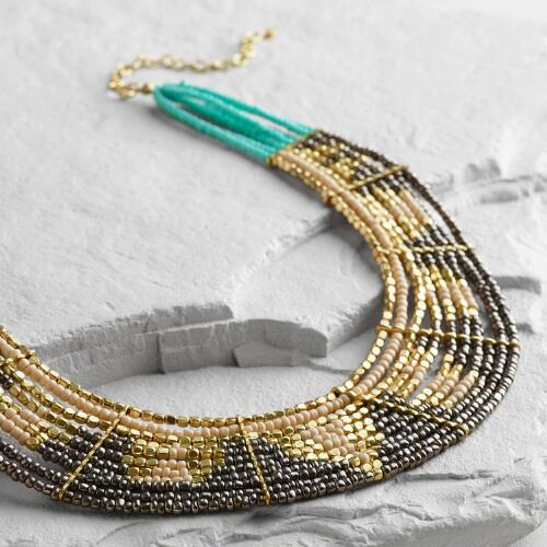 Hematite and Turquoise Beaded Collar Necklace
