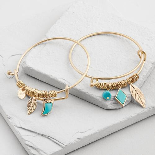 Gold and Turquoise Charm Bangles Set of 2
