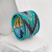 Gold and Turquoise Seed Bead Cuff Bracelet