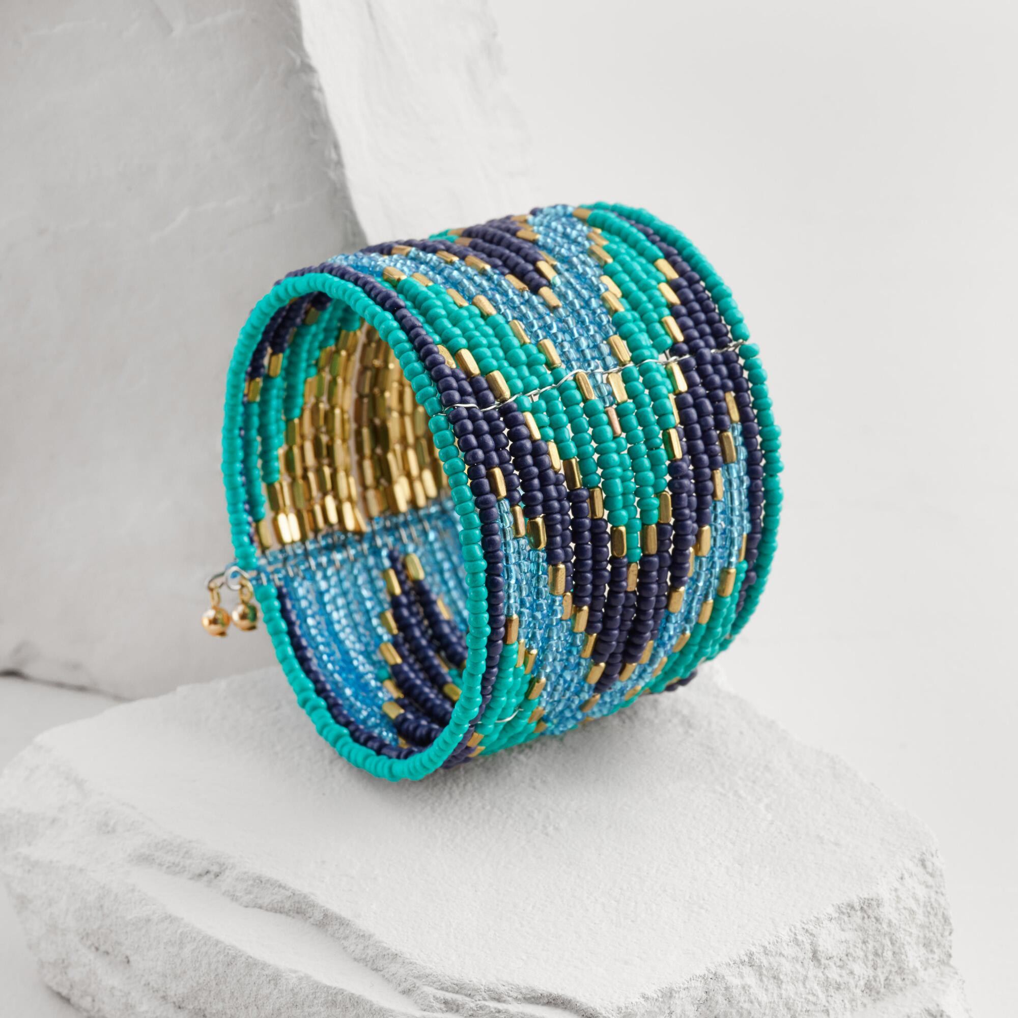 gold and turquoise seed bead cuff bracelet world market. Black Bedroom Furniture Sets. Home Design Ideas