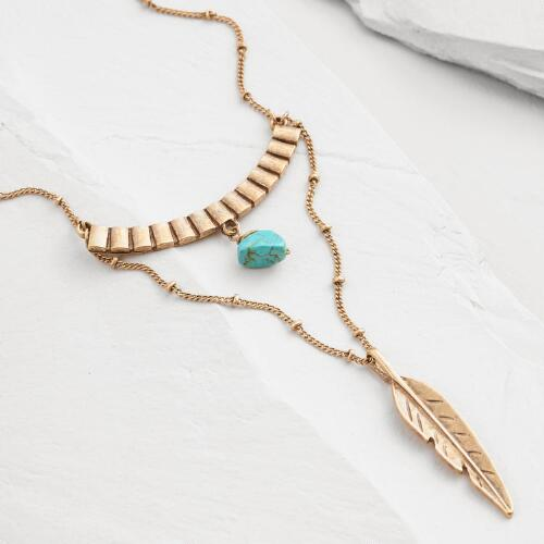 Gold Feather and Turquoise Necklace