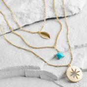 Gold Turquoise Star and Leaf Multi Strand Necklace