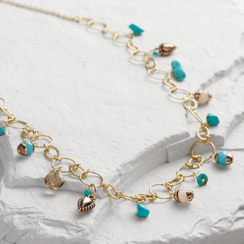 Gold Turquoise Charm Necklace