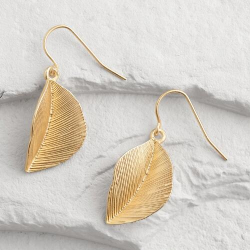 Matte Gold Leaf Drop Earrings