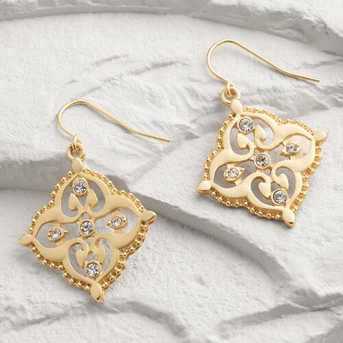 Matte Gold Rhinestone Drop Earrings