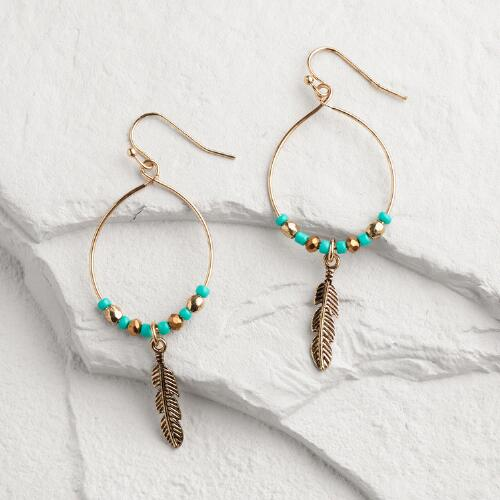 Gold and Turquoise Beaded Feather Hoop Earrings