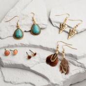 Gold Turquoise, Arrow and Feather Drop Earrings Set of 5