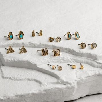 Gold Turquoise, Arrow and Feather Drop Earrings Set of 9