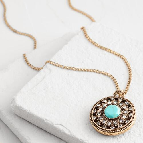 Gold Rhinestone and Turquoise Pendant Necklace