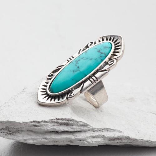 Long Silver and Turquoise Southwest Ring