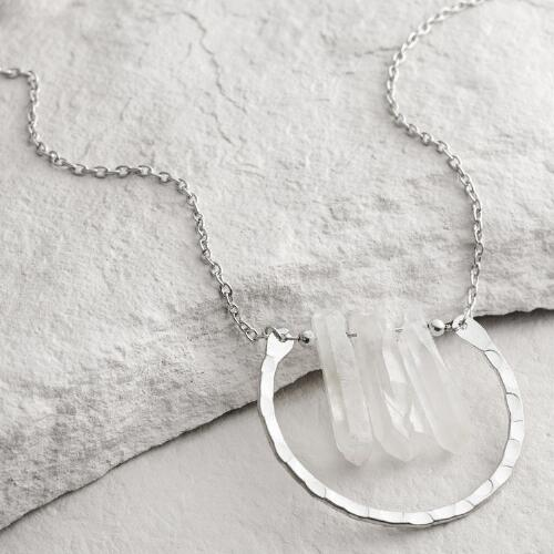 Silver Chunky Crystal Pendant Necklace