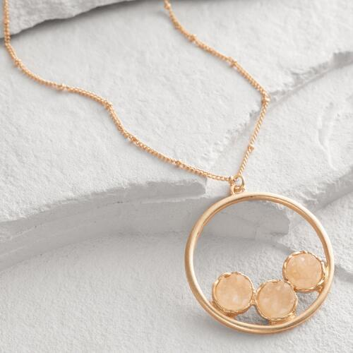 Gold Three Druzy Stone Circle Pendant Necklace