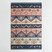 Navy and Coral Wool Maracaibo Reversible Area Rug