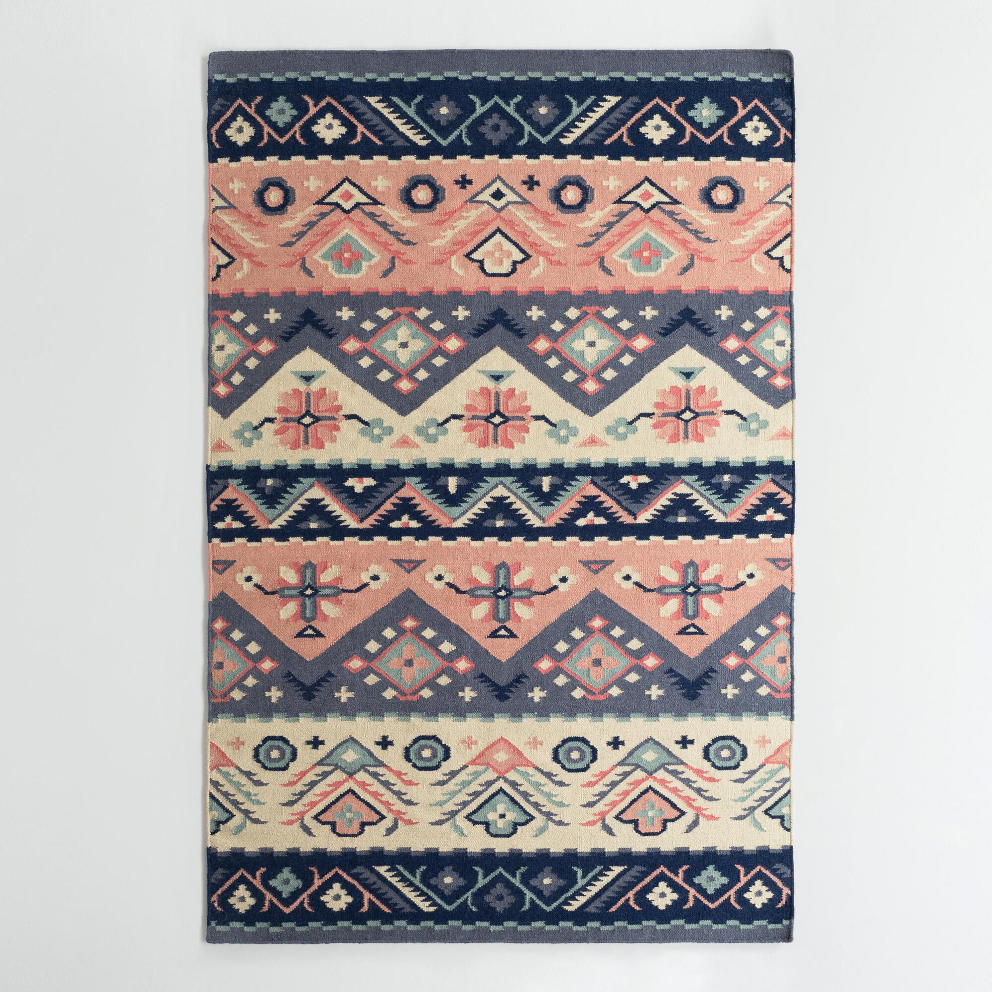 Navy And Coral Wool Maracaibo Reversible Area Rug World Market