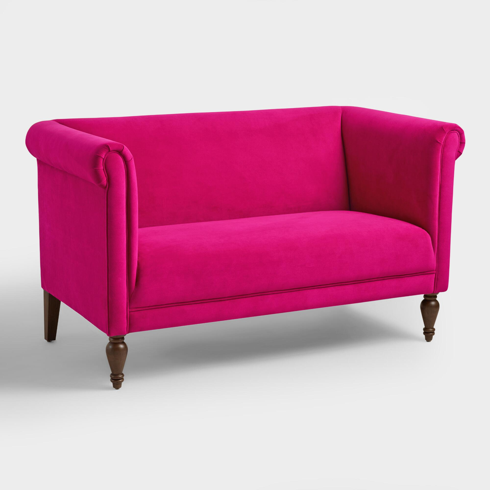 Fuchsia Velvet Marian Loveseat World Market