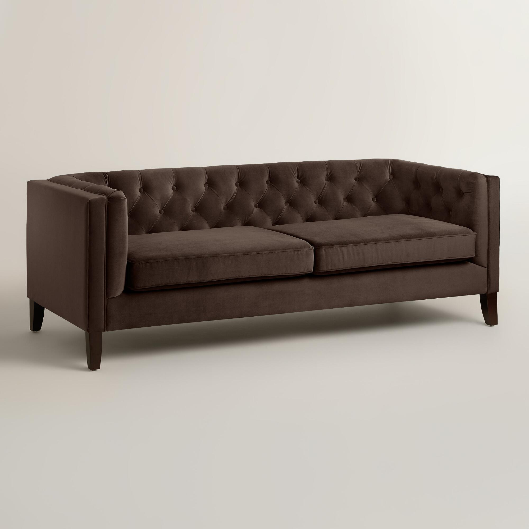 Chocolate brown velvet kendall sofa world market Chocolate loveseat