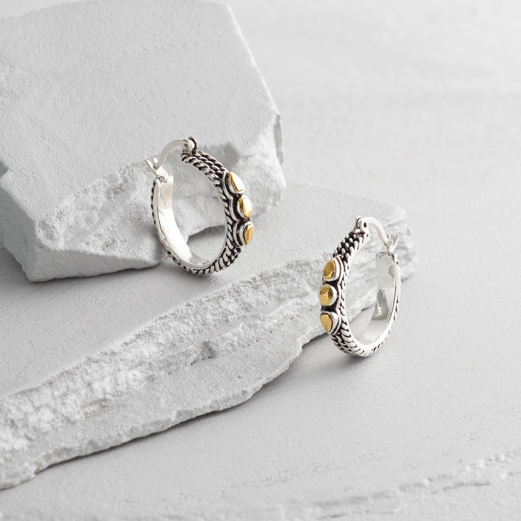 small silver and gold hoop earrings world market. Black Bedroom Furniture Sets. Home Design Ideas