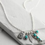 Silver Turquoise Charm Necklace