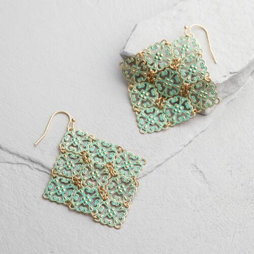Mint Patina Triangle Drop Earrings
