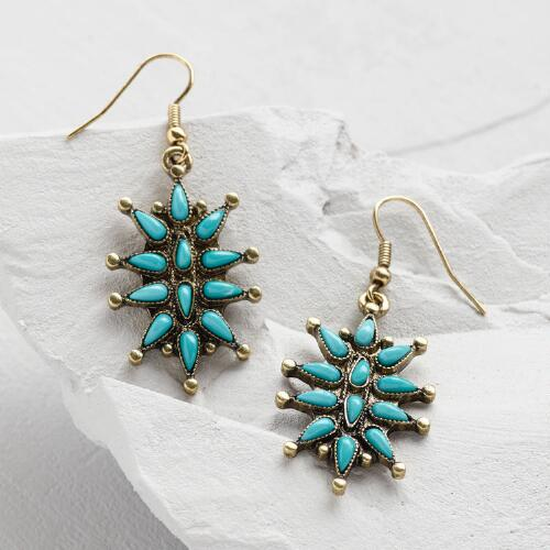 Gold and Turquoise Starburst Earrings