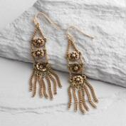 Gold Star Fringe Dangle Earrings