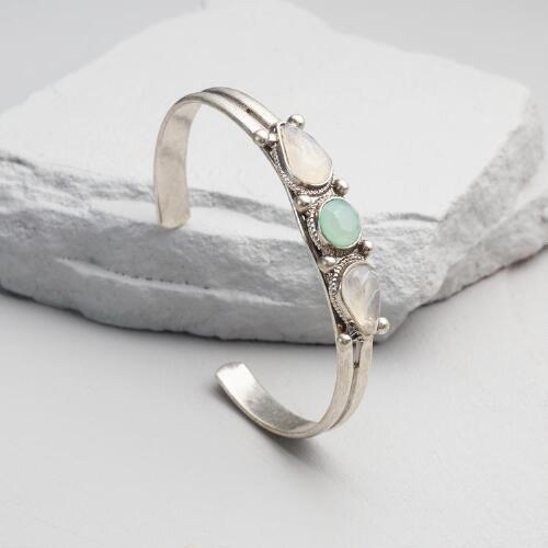Silver, Pale Aqua, and White Stone Cuff Bracelet