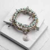 Silver and Pale Aqua Stretch Charm Bracelets Set of 5