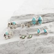 Silver, Turquoise and Elephant Stud Earrings Set of 5