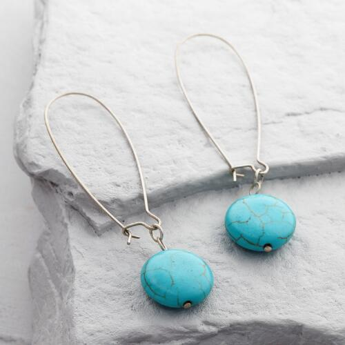 Silver and Turquoise Stone Drop Earrings