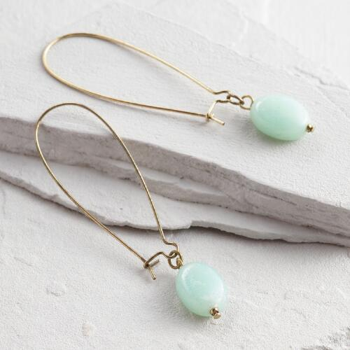 Gold and Green Stone Drop Earrings