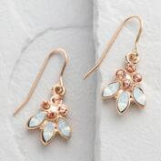 Gold and Opal Flower Drop Earrings