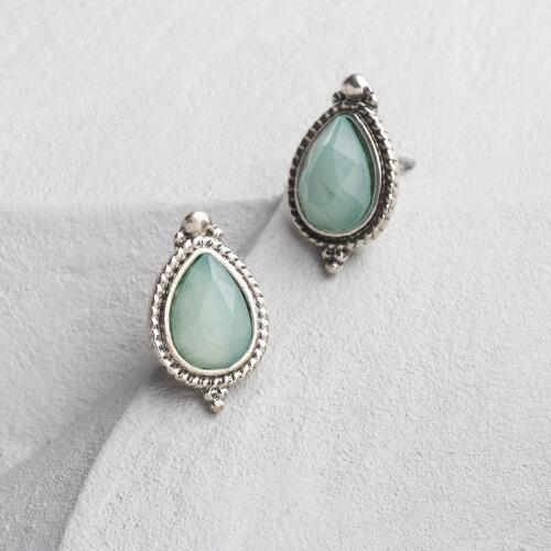 Silver and Pale Blue Teardrop Stud Earrings