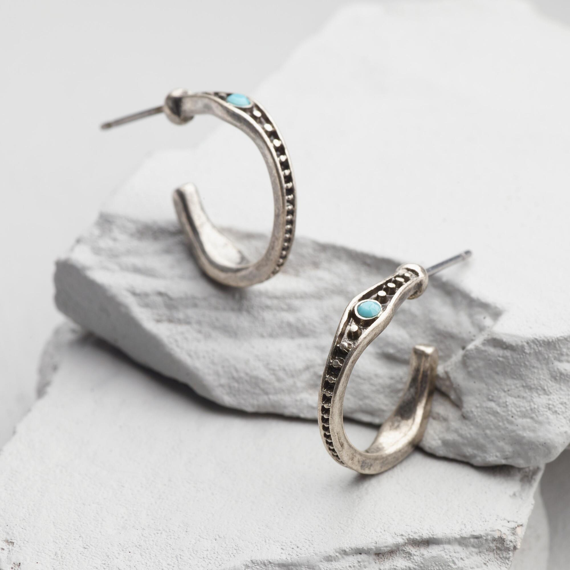 small silver and turquoise hoop earrings world market. Black Bedroom Furniture Sets. Home Design Ideas