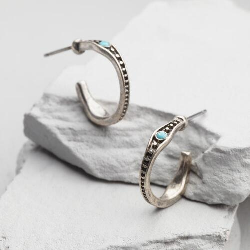 Small Silver and Turquoise Hoop Earrings