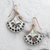 Aqua and Gold Painted Drop Earrings