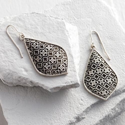 Silver Etched Lantern Drop Earrings