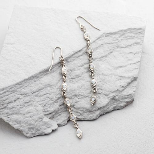 Long Silver and White Opal Drop Earrings