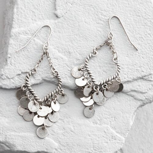 Silver Coin Dangle Earrings