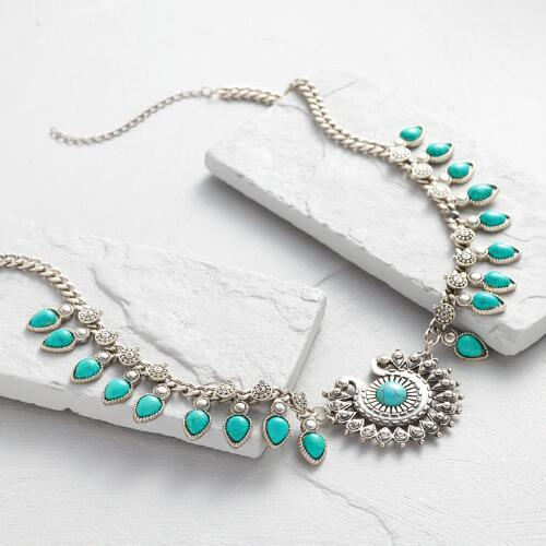Silver and Turquoise Stone Statement Necklace
