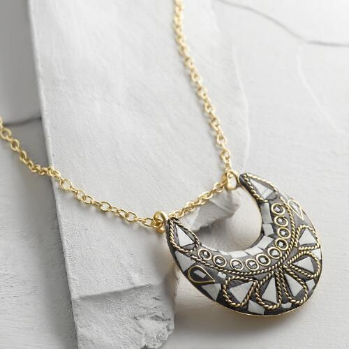 Black and White Inlay Crescent Necklace